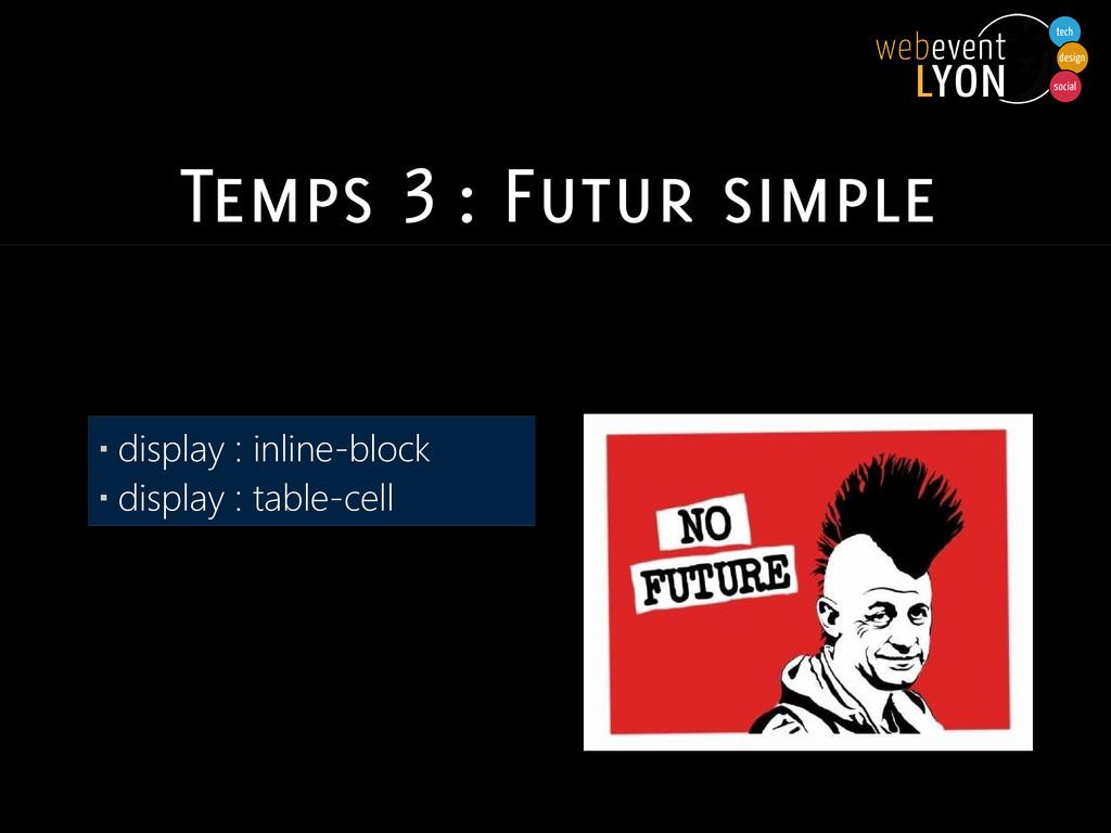 Temps 3 : Futur simple ▪ display : inline-block...