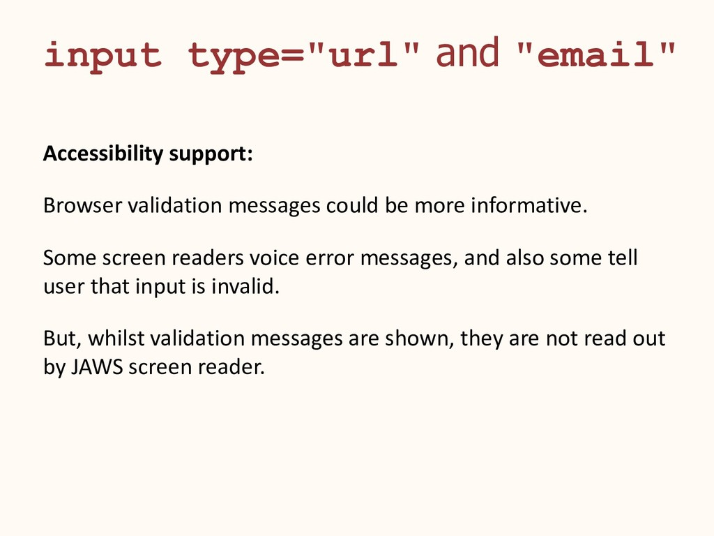"""input type=""""url"""" and """"email"""" Accessibility supp..."""