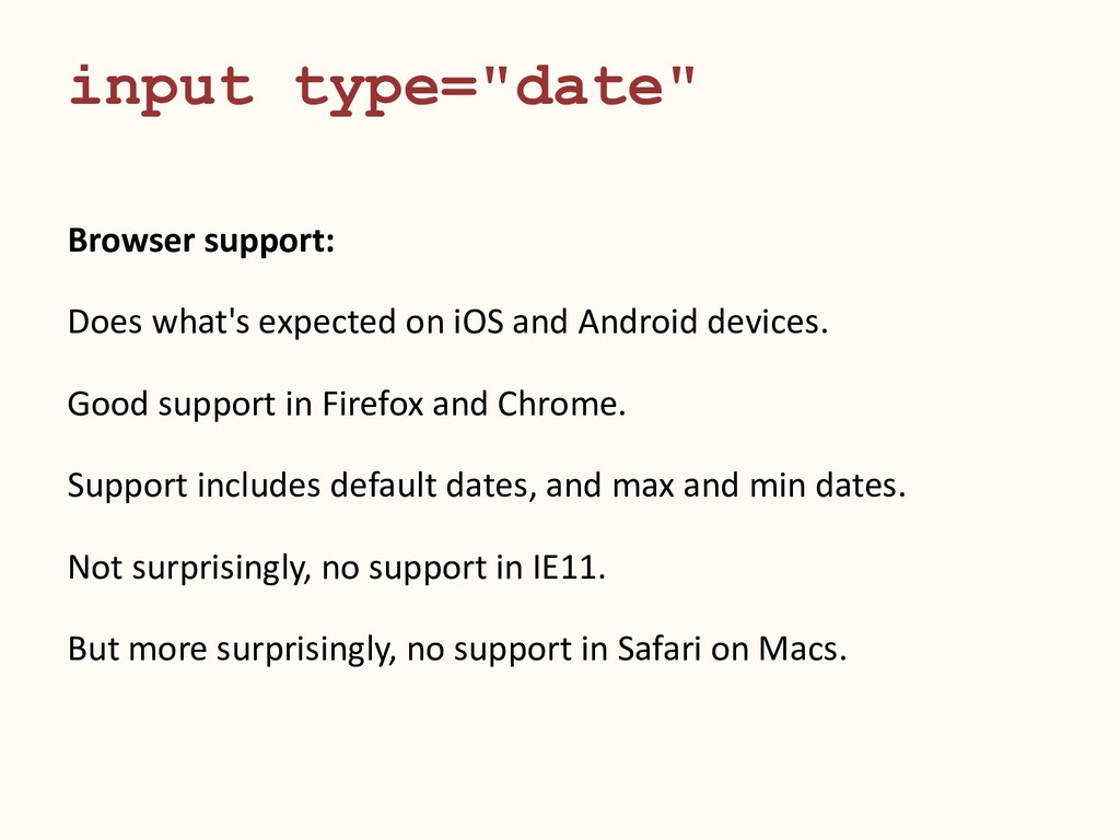 Browser support: Does what's expected on iOS an...