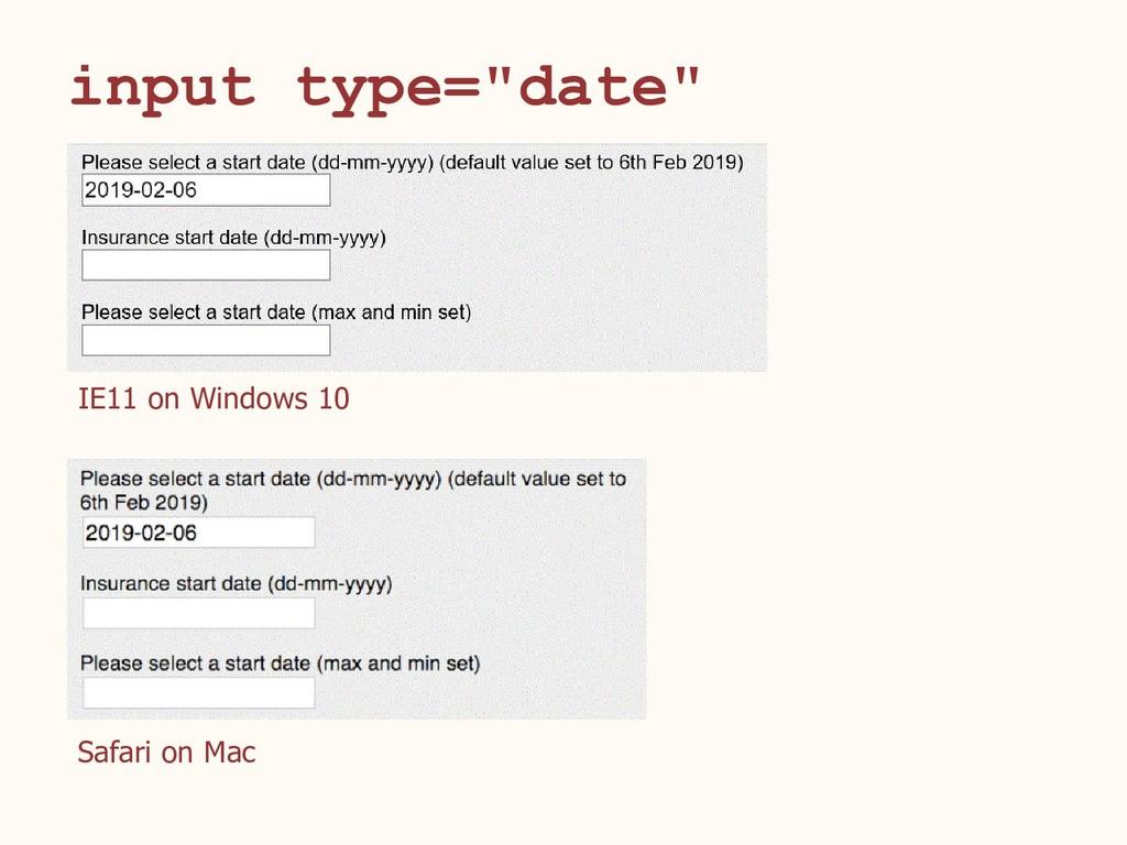"input type=""date"" IE11 on Windows 10 Safari on ..."