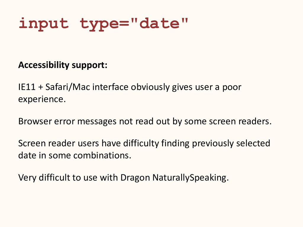 """input type=""""date"""" Accessibility support: IE11 +..."""