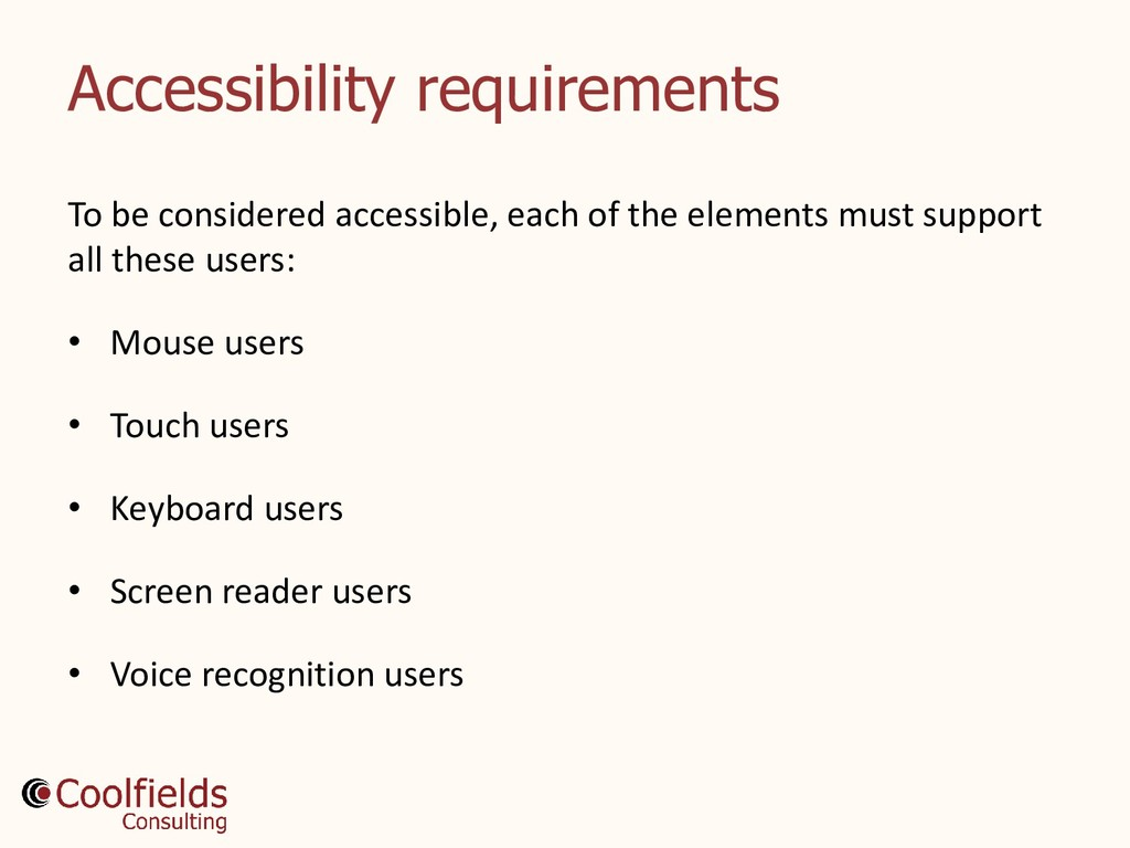 Accessibility requirements To be considered acc...