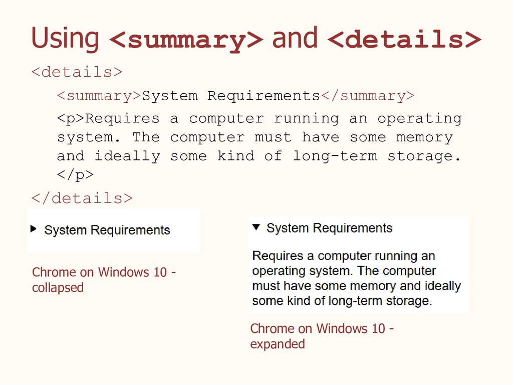Using <summary> and <details> <details> <summar...