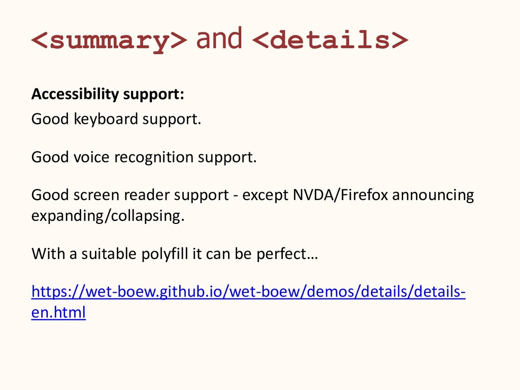 <summary> and <details> Accessibility support: ...