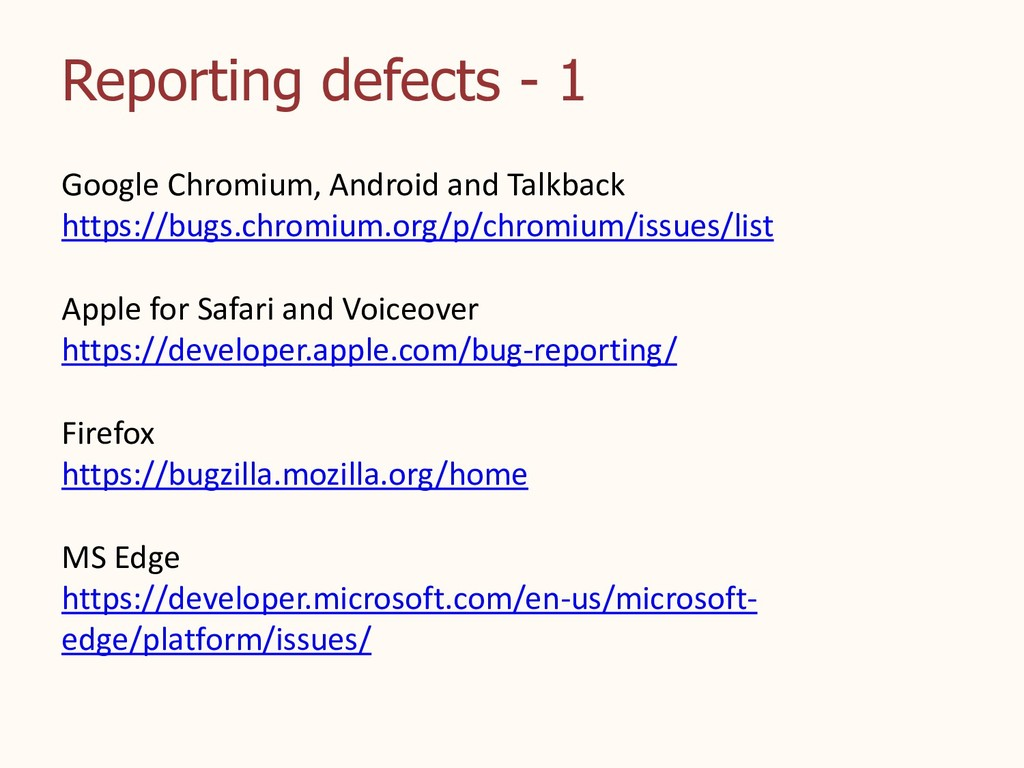 Reporting defects - 1 Google Chromium, Android ...