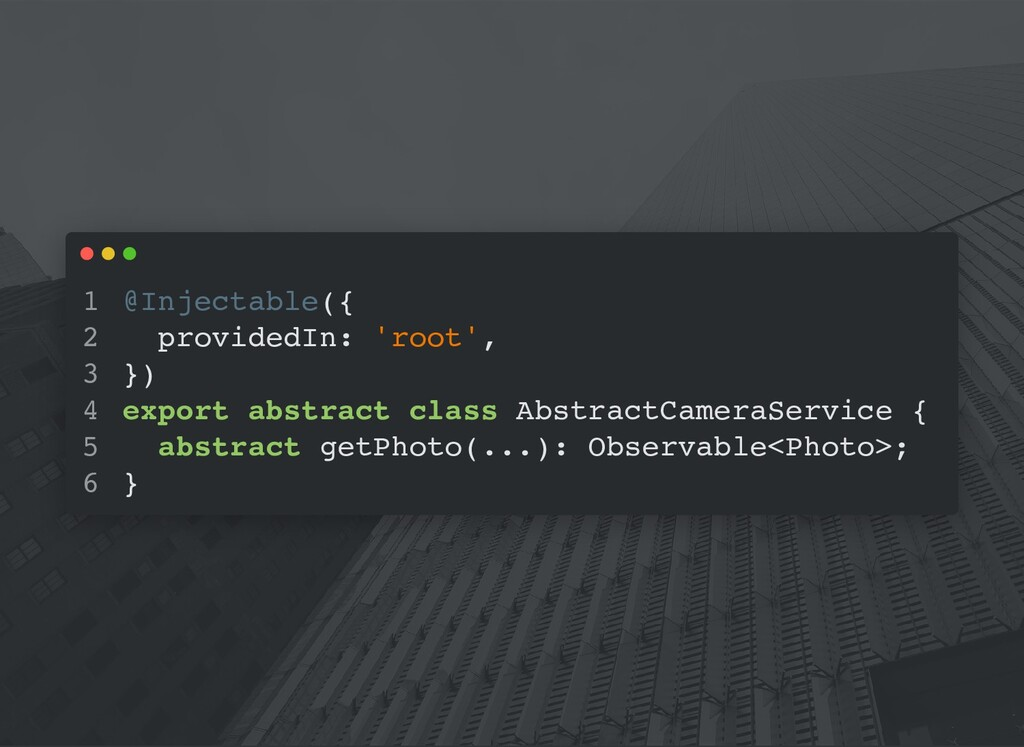 @Injectable({ providedIn: 'root', }) export abs...