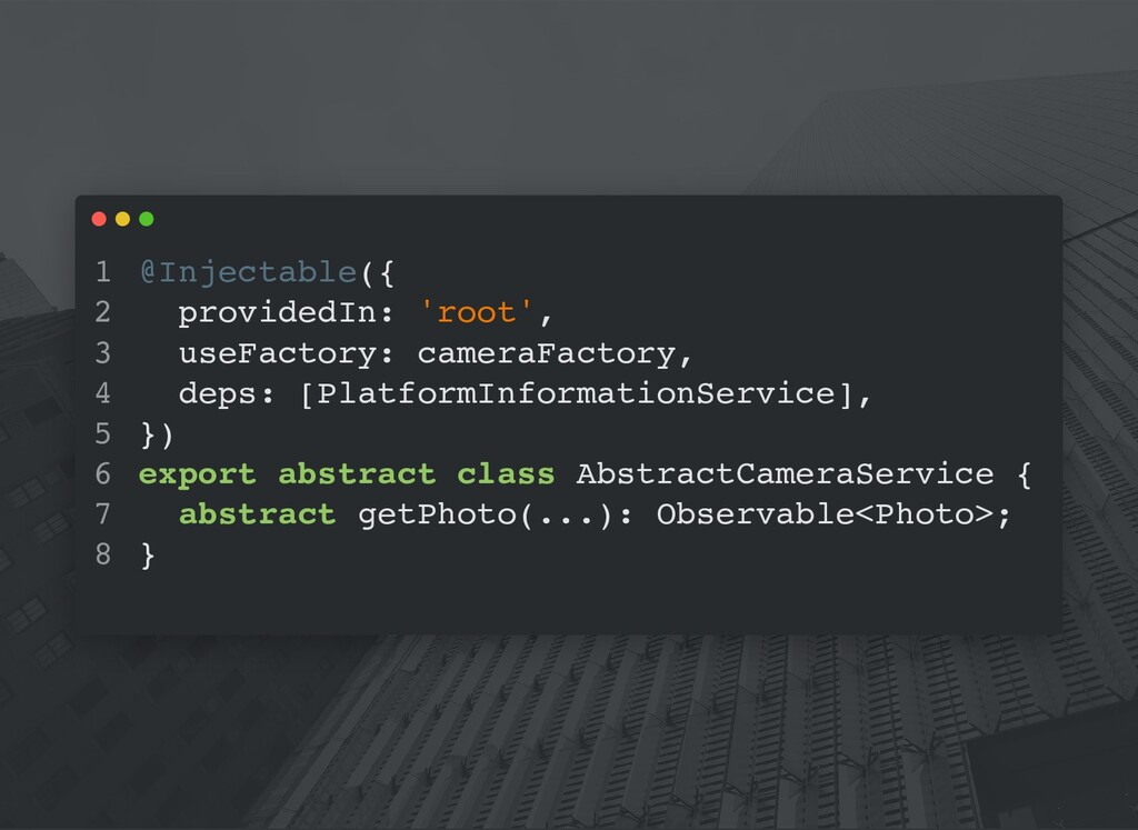 @Injectable({ providedIn: 'root', useFactory: c...