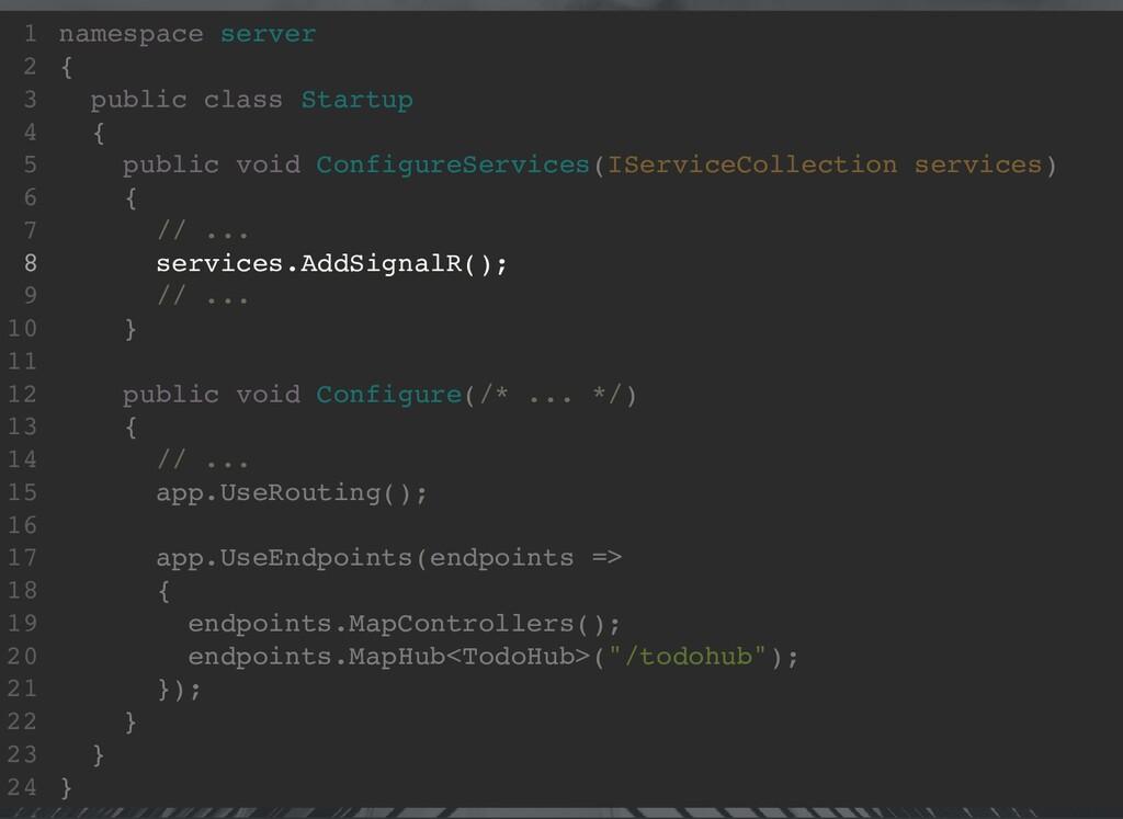 namespace server { public class Startup { publi...