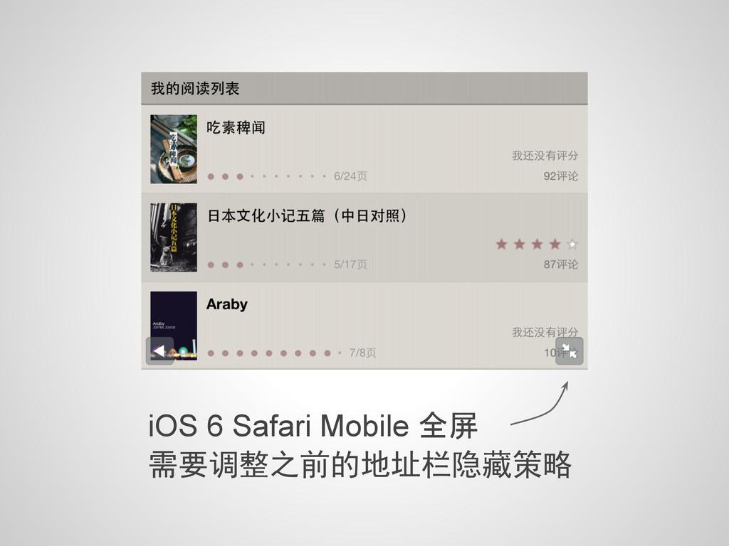 iOS 6 Safari Mobile 全屏 需要调整之前的地址栏隐藏策略