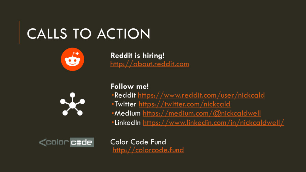 CALLS TO ACTION Reddit is hiring!