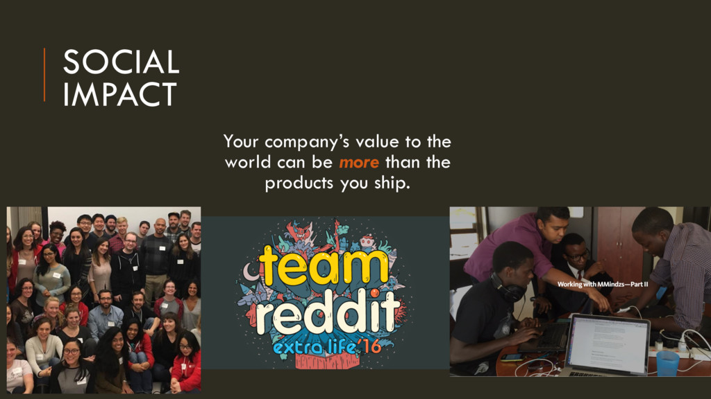 SOCIAL IMPACT Your company's value to the world...