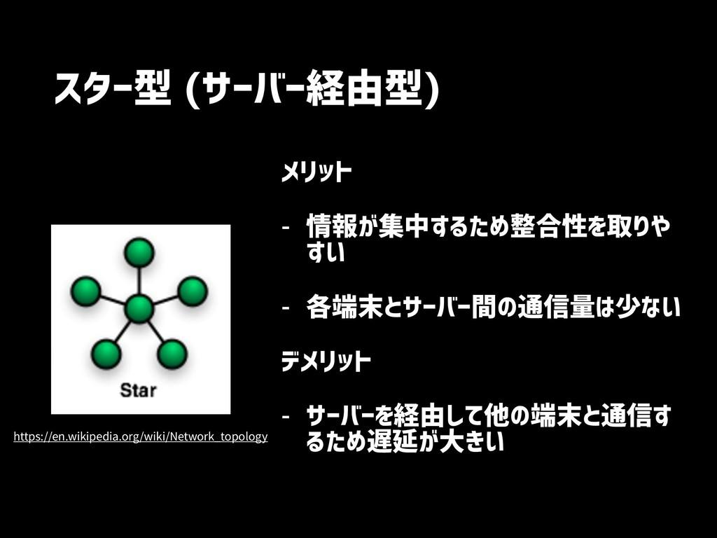 スター型 (サーバー経由型) メリット - 情報が集中するため整合性を取りや すい - 各端末...