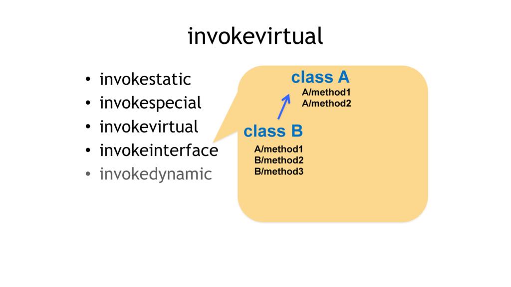• invokestatic • invokespecial • invokevirtual ...