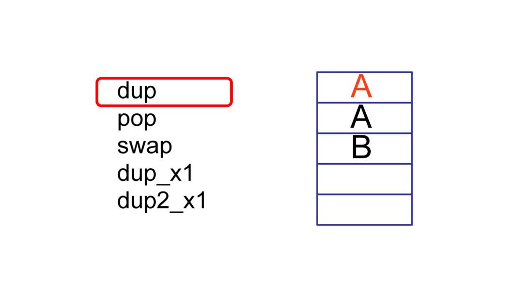 A B dup pop swap dup_x1 dup2_x1 A