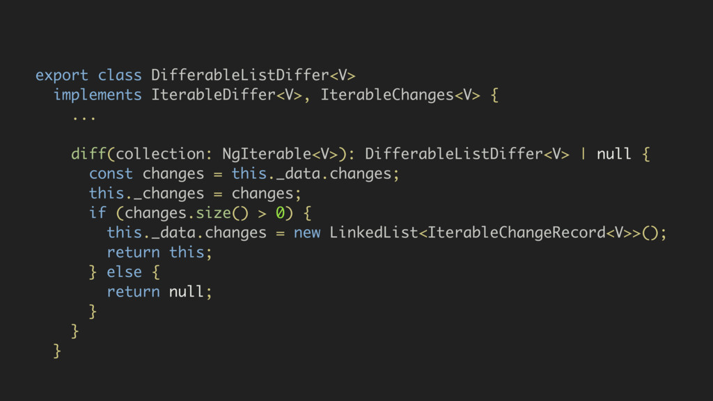 export class DifferableListDiffer<V> implements...