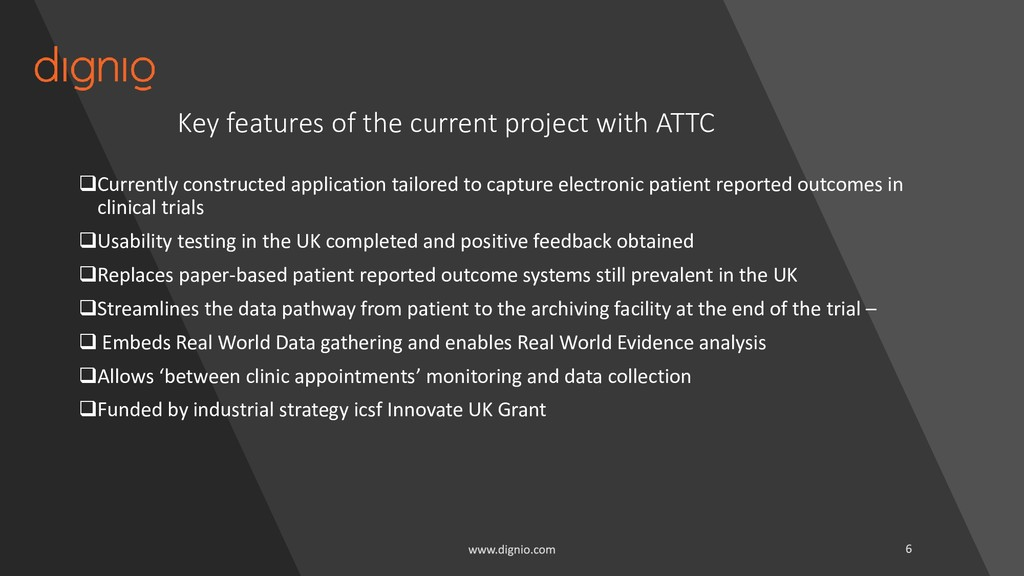 Key features of the current project with ATTC ❑...