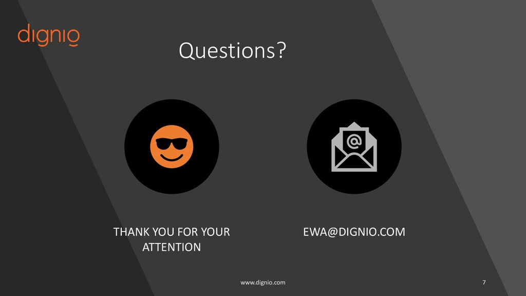 Questions? THANK YOU FOR YOUR ATTENTION EWA@DIG...