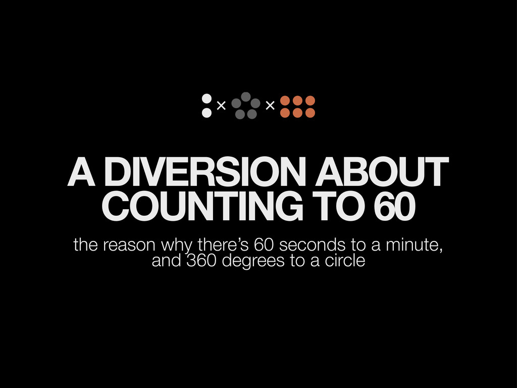 A DIVERSION ABOUT COUNTING TO 60 the reason why...