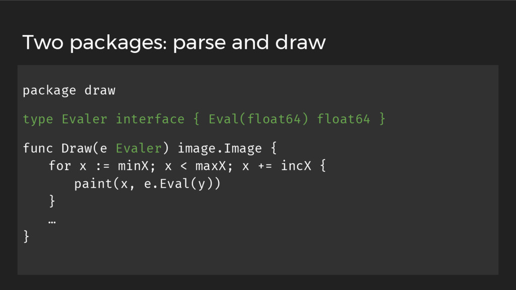 Two packages: parse and draw package draw type ...