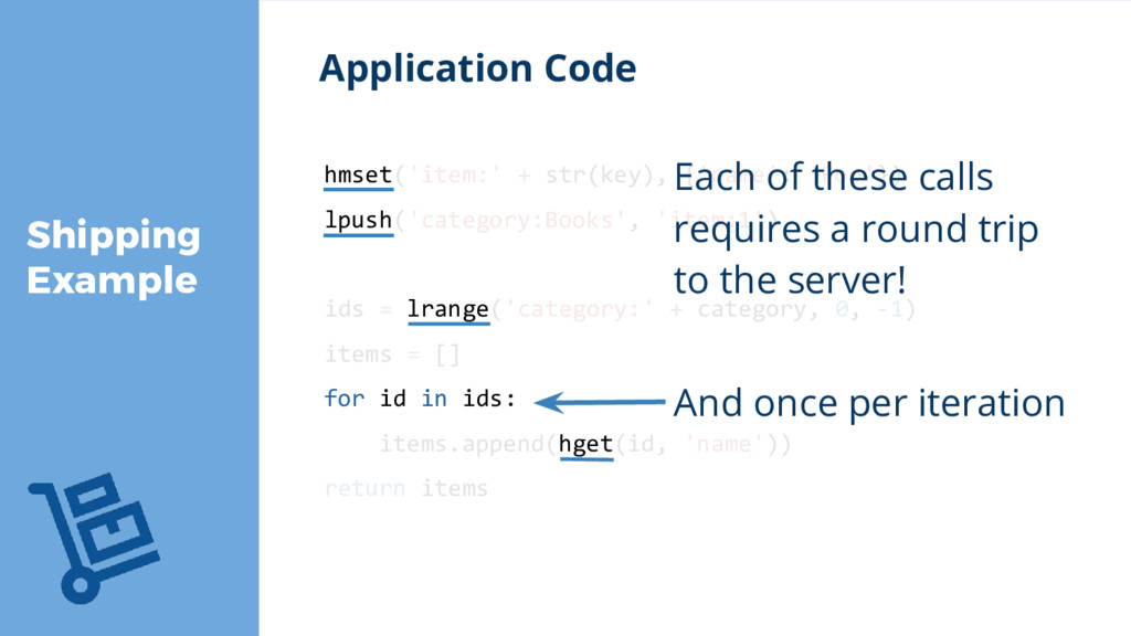 Shipping Example Application Code hmset('item:'...