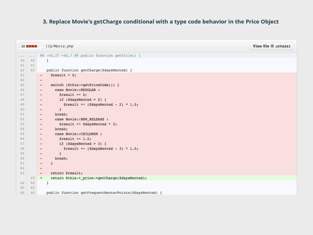 3. Replace Movie's getCharge conditional with a...