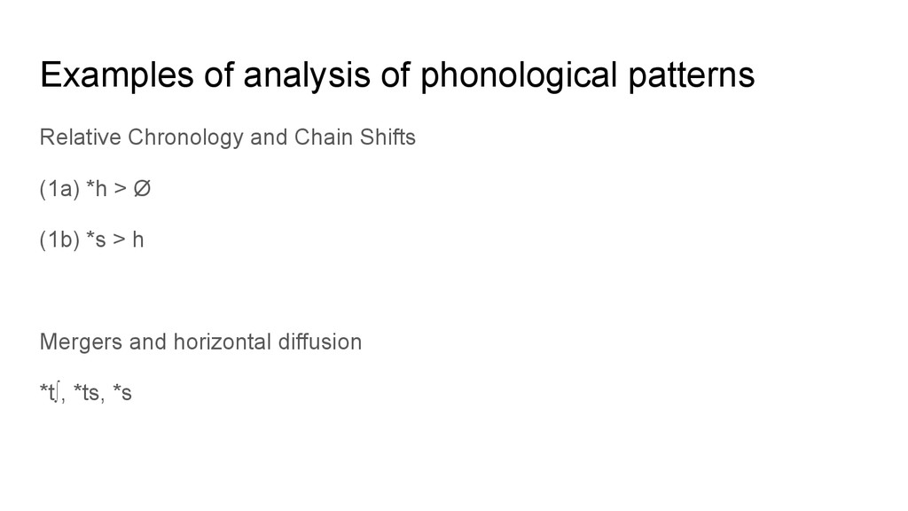 Examples of analysis of phonological patterns R...