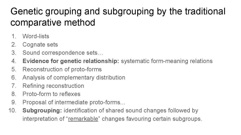 Genetic grouping and subgrouping by the traditi...