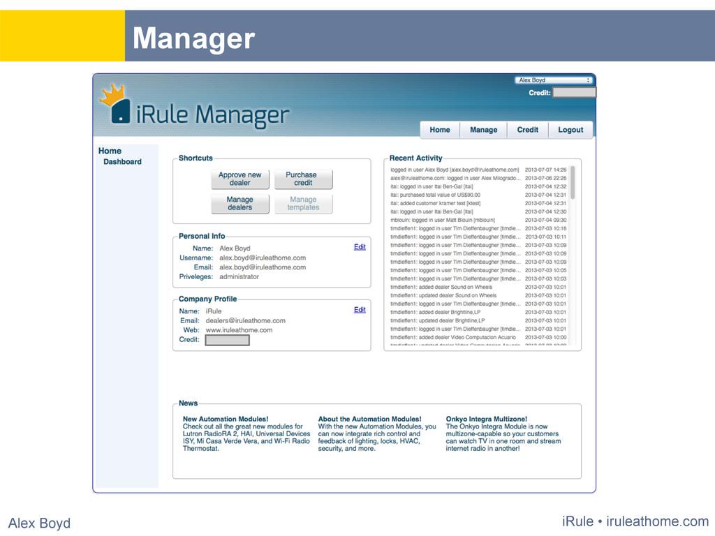Title iRule • iruleathome.com Alex Boyd Manager