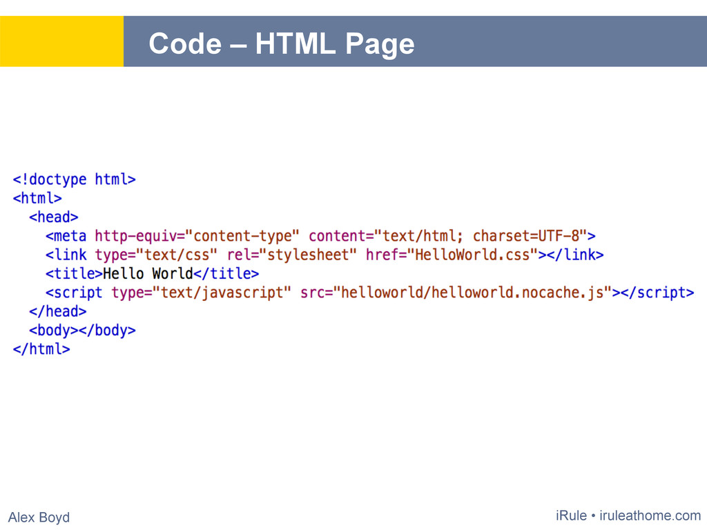 Alex Boyd Code – HTML Page iRule • iruleathome....