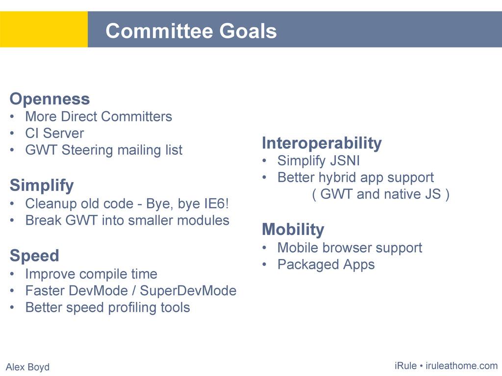 Alex Boyd Committee Goals iRule • iruleathome.c...