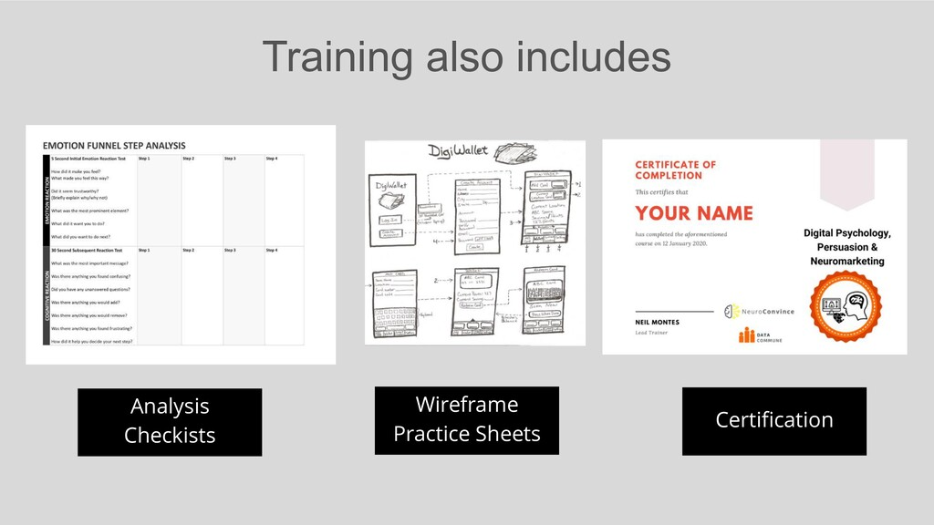 Training also includes Analysis Checkists Certi...