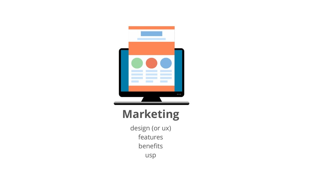 Marketing design (or ux) features benefits usp