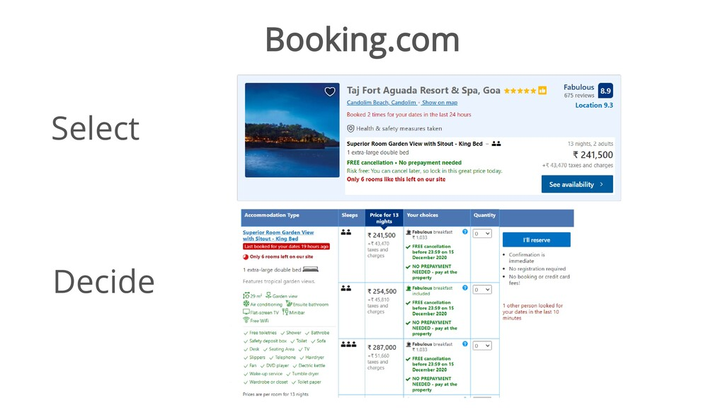 Booking.com Select Decide