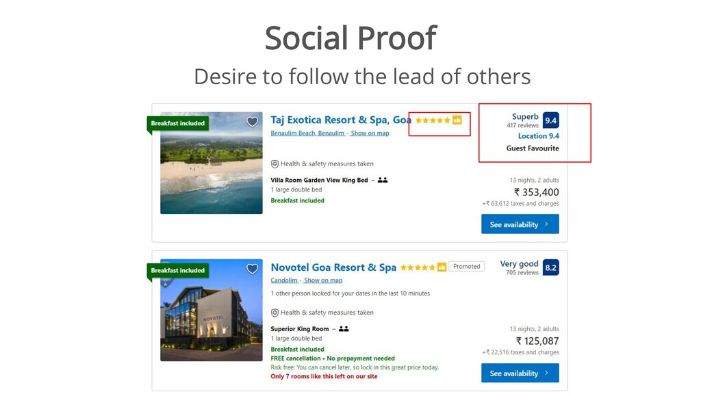 Social Proof Desire to follow the lead of others