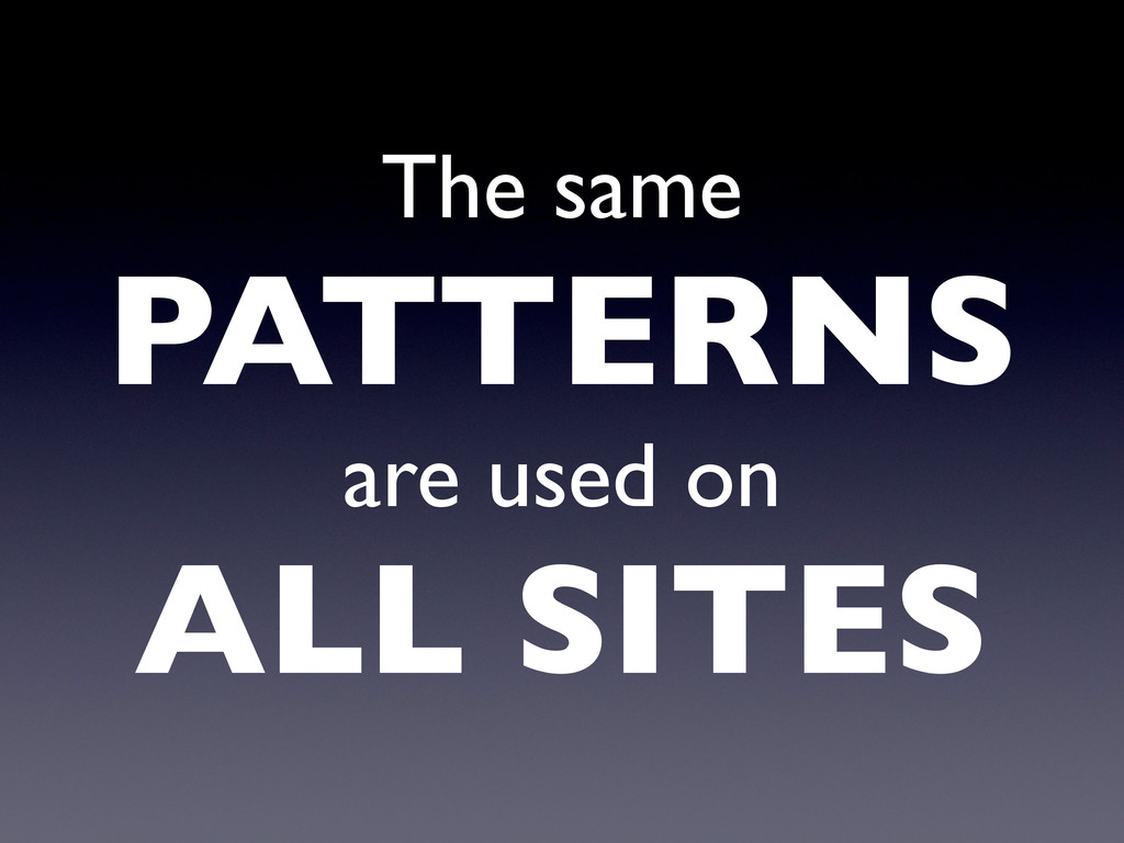 The same PATTERNS are used on ALL SITES