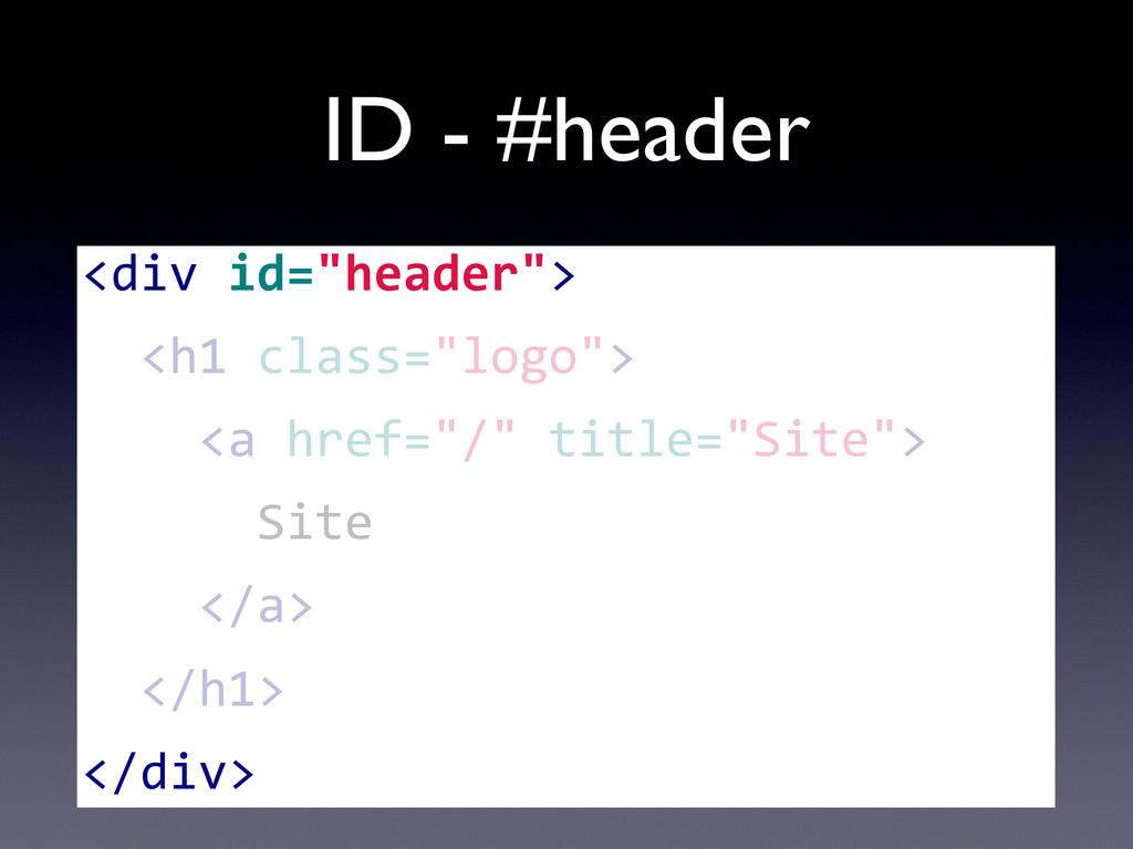 "ID - #header <div id=""header"">   <h1..."