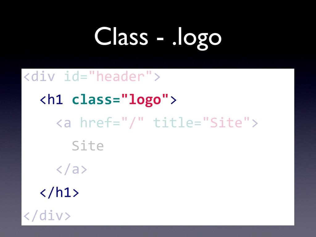 """Class - .logo <div id=""""header"""">   <h1..."""
