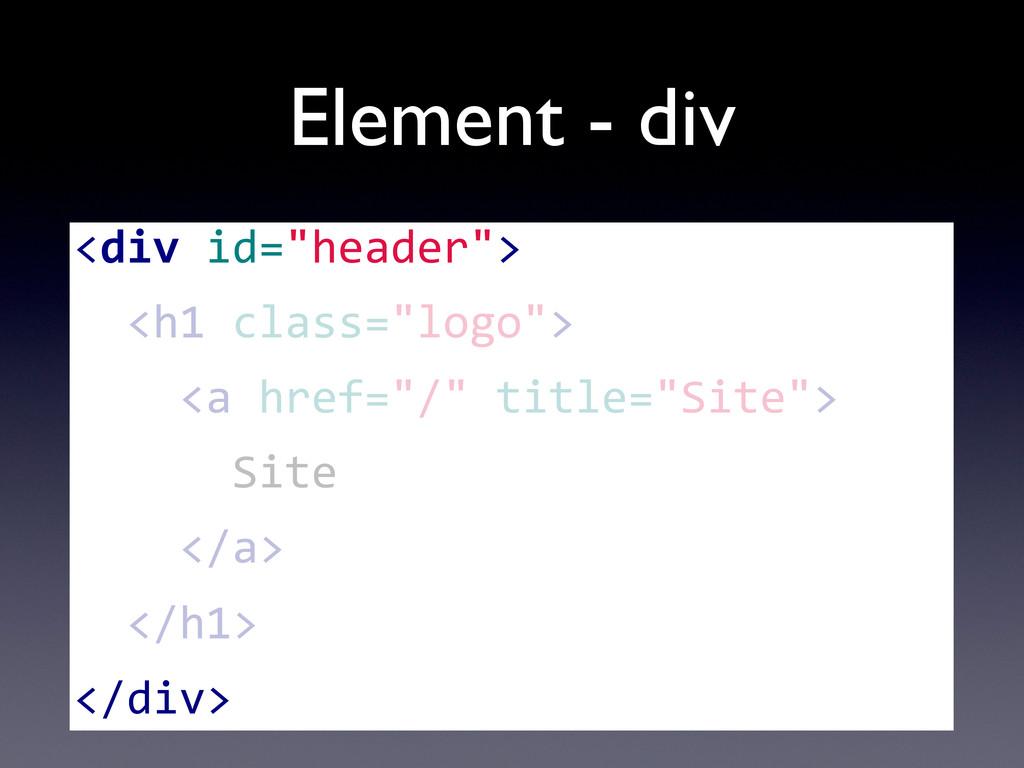 "Element - div <div id=""header"">   <h1..."