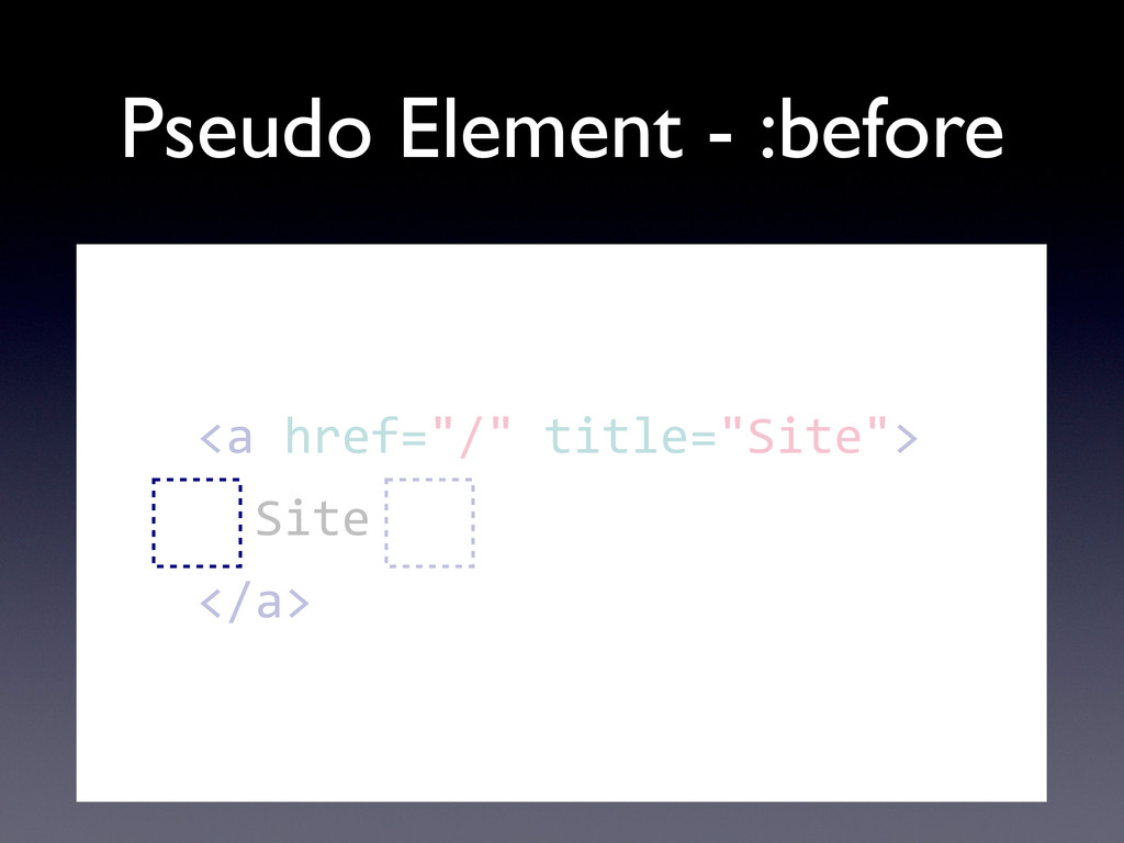 Pseudo Element - :before        ...