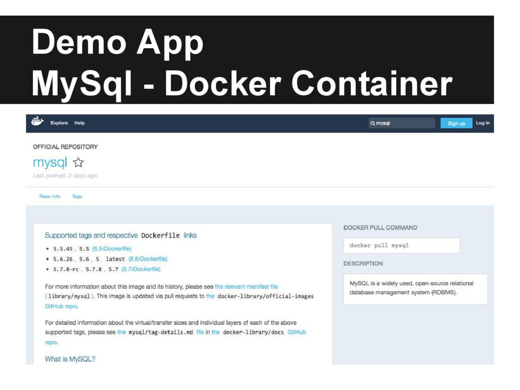 Demo App MySql - Docker Container