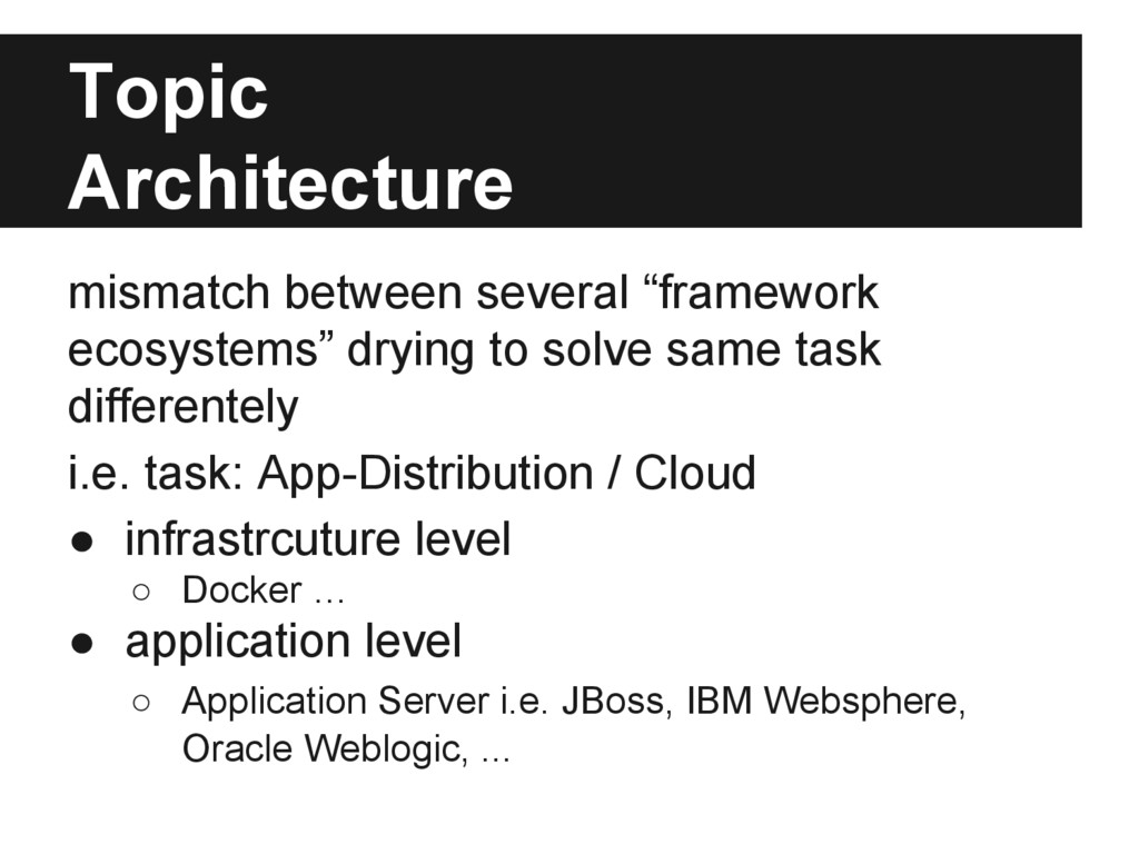 """Topic Architecture mismatch between several """"fr..."""