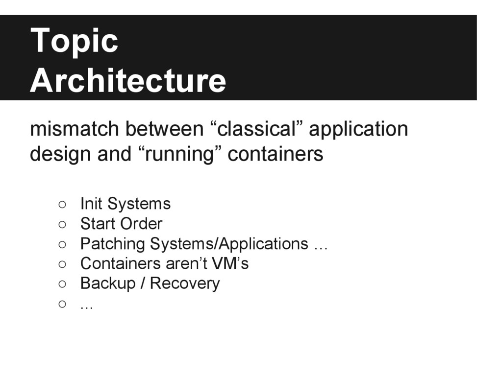 """Topic Architecture mismatch between """"classical""""..."""