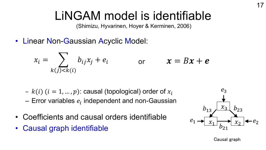 LiNGAM model is identifiable (Shimizu, Hyvarine...
