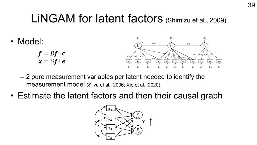 LiNGAM for latent factors (Shimizu et al., 2009...