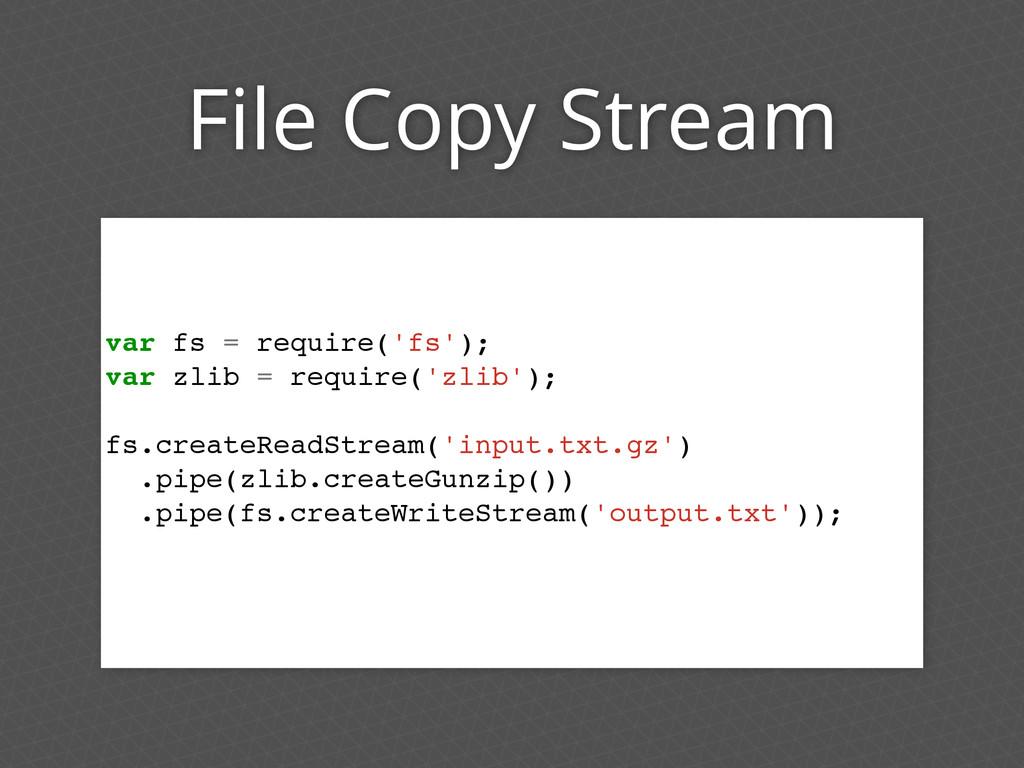 File Copy Stream var fs = require('fs'); var zl...