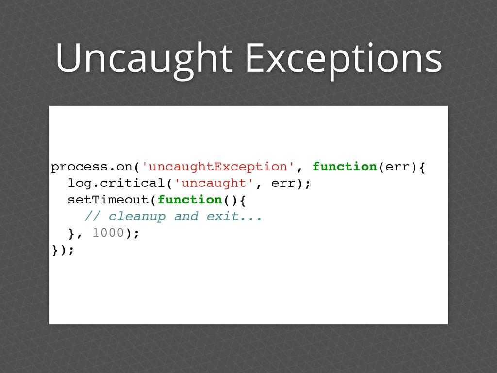 Uncaught Exceptions process.on('uncaughtExcepti...