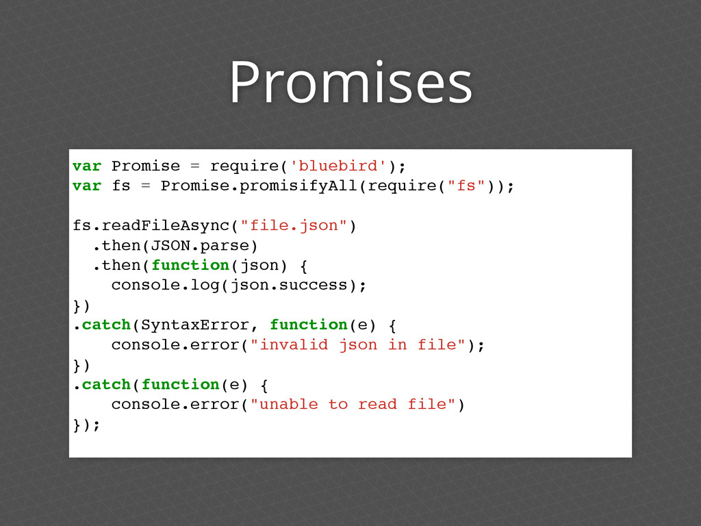 Promises var Promise = require('bluebird'); var...