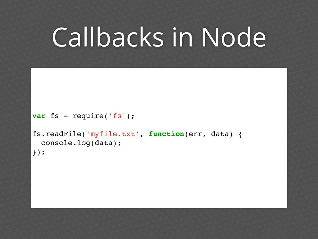 Callbacks in Node var fs = require('fs'); fs.re...