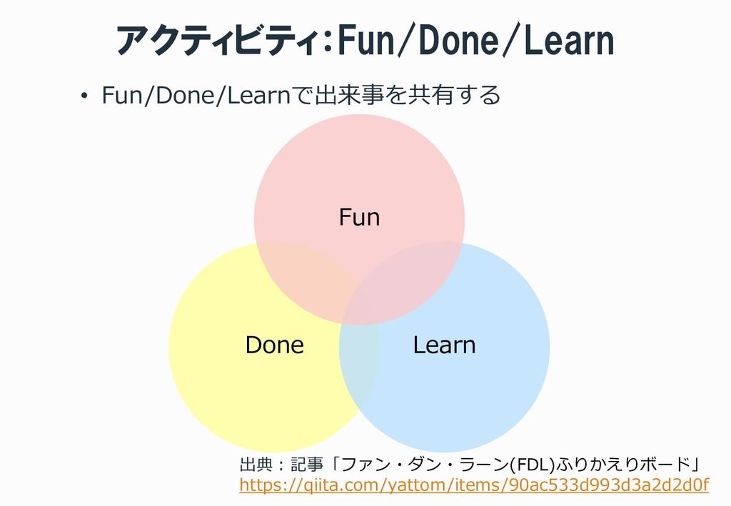 アクティビティ:Fun/Done/Learn • Fun/Done/Learnで出来事を共有す...