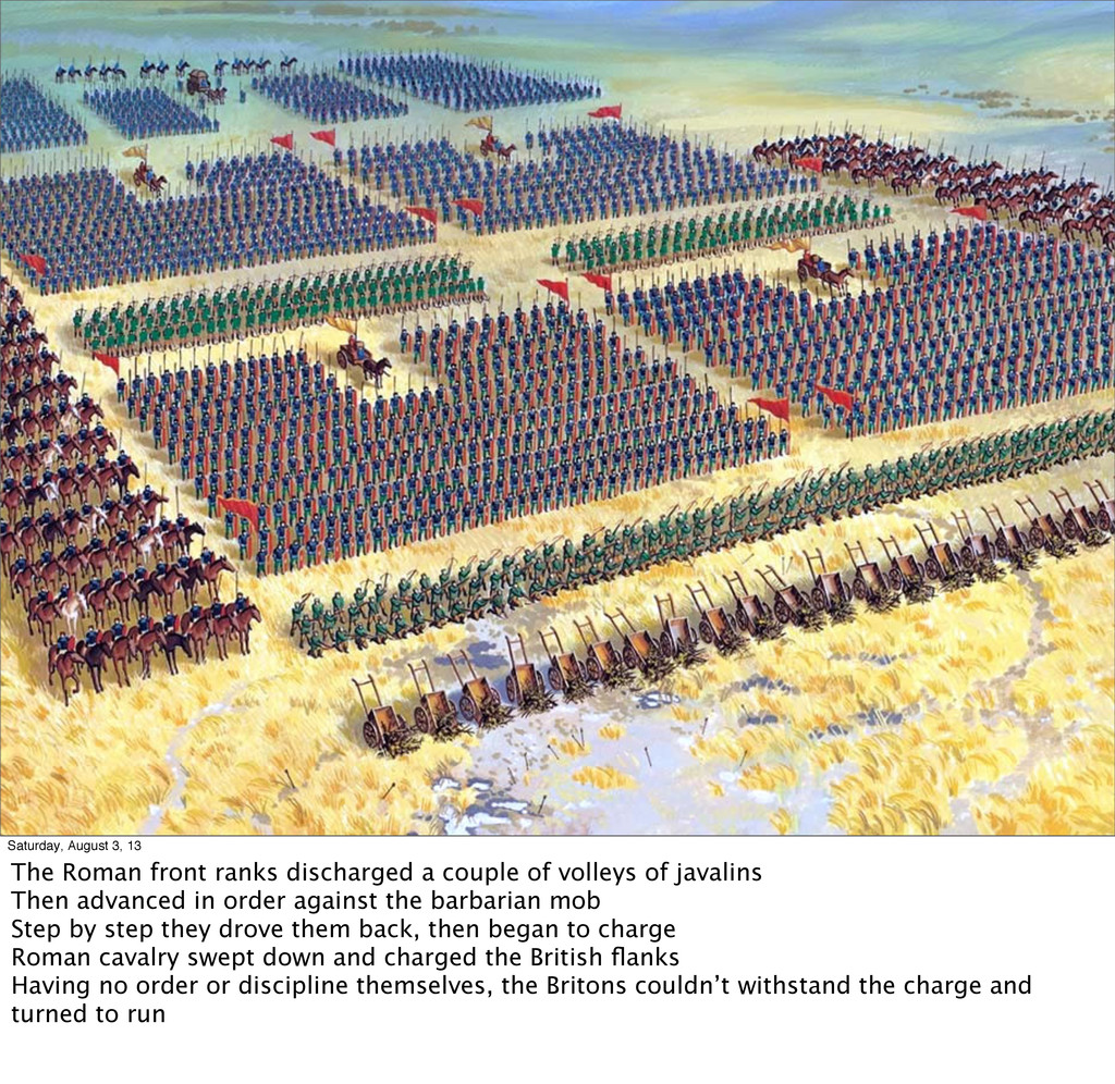 Saturday, August 3, 13 The Roman front ranks di...